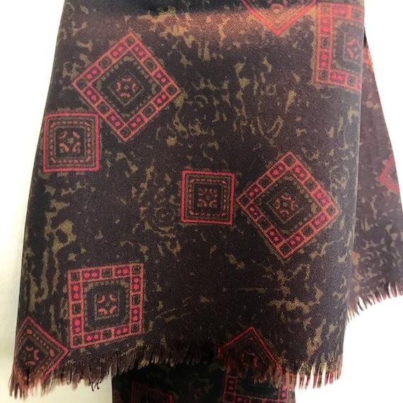 Vintage gents scarf square geometric silky crepe Tootal gentlemans cravat menswear scarf brown red long Mod neckerchief hugh hefner paisley