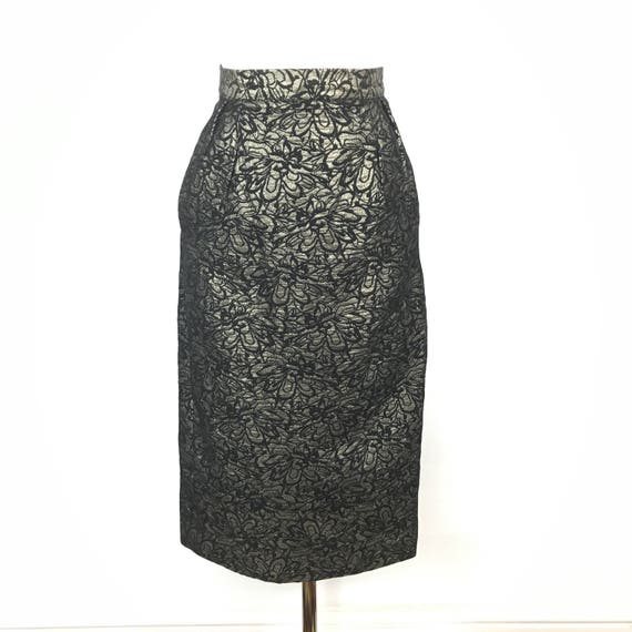 """1950s style metallic grey pencil skirt pewter black brocade suit 1980s jacket wiggle 80s does 1950s pin up UK 8 25"""""""