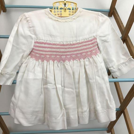 baby girls vintage dress white brushed cotton hand smocked 3M 6M baby shower 1950s childrenswear smocking pink vintage long sleeves
