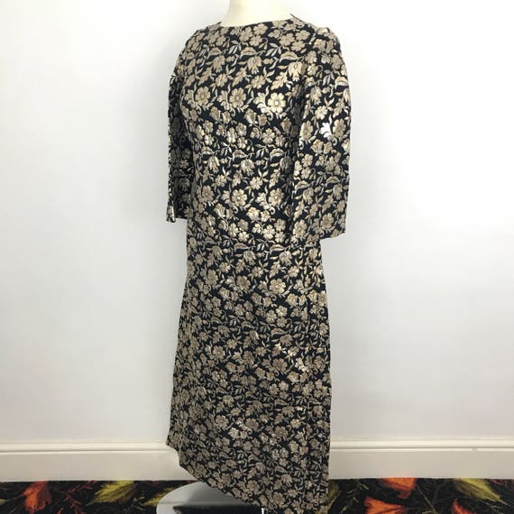 vintage maxi dress 1970s long evening dress Gold and black brocade A line flared sleeves UK 10 12 christmas frock daisy mod