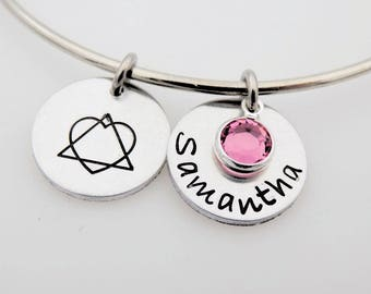 Custom Adoption, Bracelet Bangle, Handstamped Jewelry, Choose your name and birthstone, Adopted parents, Foster Parents, Adoptee, Adopted