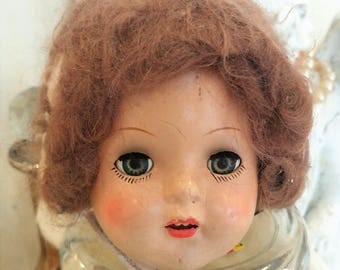 """WOW! Antique Composition 18"""" Sleepy Eye Bride Doll With Veil - Parts BEAUTY!!"""