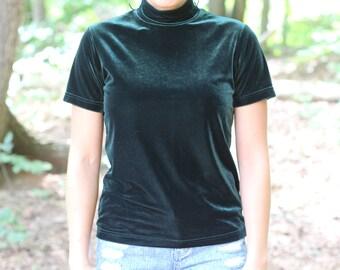 vintage 1990s hunter green velvet short sleeve shirt