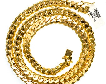 "Solid 32"" 10K Yellow Gold Miami Cuban Link Chain 11.3X4 MM"