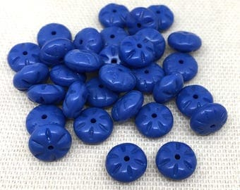 25 Vintage Opaque Blue Czech Glass Beads Pressed Coin 8mm