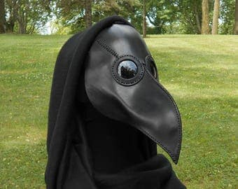 Leather Plague Doctor Mask Black Classic Medieval Steampunk Dieselpunk Apocalyptic Pagan LARP Cosplay Halloween