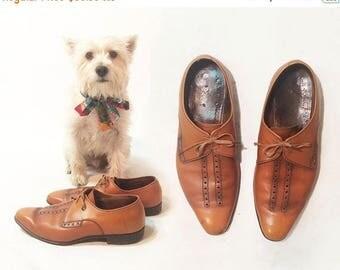 JULY FLASH SALE Vintage 1950's 1960's Cognac Brown Italian Jazz Shoes || Brogues Oxfords Dress Shoes || Size 8.5
