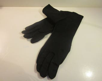 Vintage Black Evening Gloves with Floral Embroidery