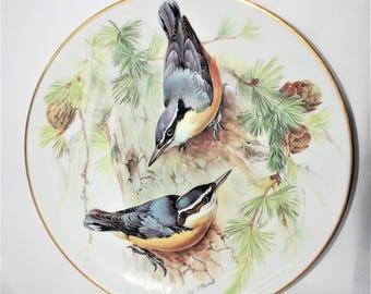 """1986 WWF SONGBIRD PLATE by Ursula Band - Corsican Nuthatch Birds (""""Korsikanischer Kleiber"""") - dm04"""