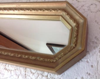 Vintage Gold Mirror Long Thin Mirror Scrolled Mirror Homco Mirror