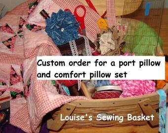 Custom set, port and comfort pillow, mastectomy pillow, Port pillow, Pacemaker, seat belt pillow,G Tube, Cancer , Chemo Port, Porta pillow,