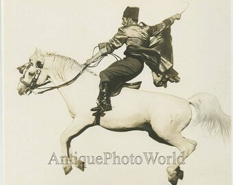 Ringling Bros circus man on horse antique art photo