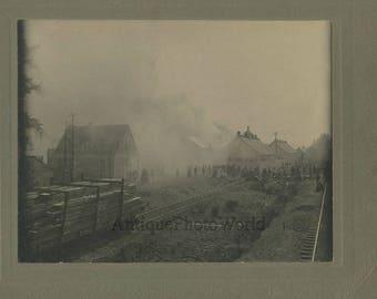 Fire at railroad station spectators rare antique photo