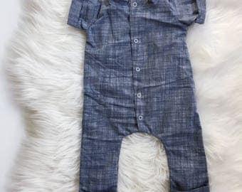 Linen Romper / Chambray Linen Romper / Toddler Romper / Baby Romper / Jumper / Jumpsuit