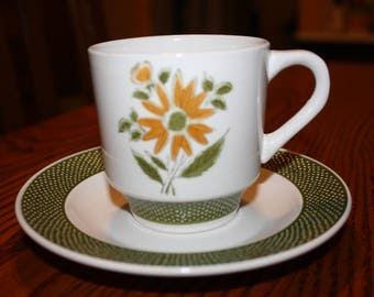 Bellegay Ironstone Cup & Saucer Ovenproof with Floral Pattern -Vintage