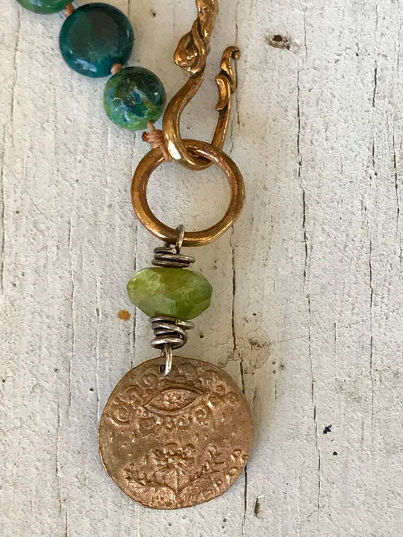 Turquoise Providence. Artisan made bronze pendant with knotted turquoise and bronze hook and ring. Handmade and OOAK by ladeDAH!