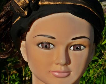 Gold and black taffeta headband