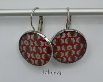 Stud Earrings floral red, green and yellow