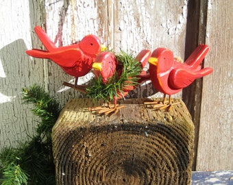 Red Bird,Christmas Tree,Ornament,Rustic Wood Bird,Reclaim Wood Bird,Folk Art Bird,Red Wooden Bird,Nursery Decor,Boho Wall Decor,Bohemian Art