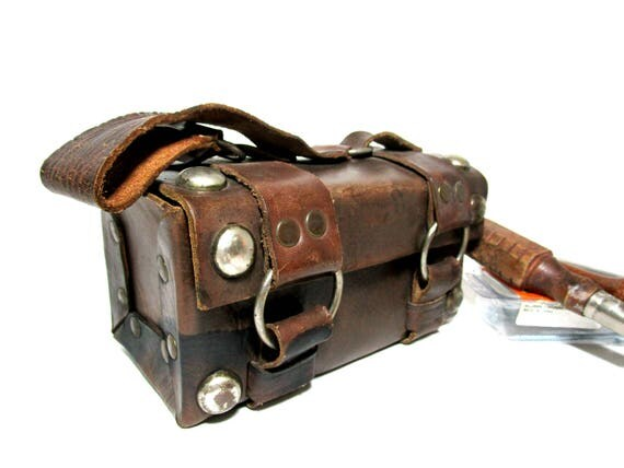Vintage Leather Tool Caddy, Tool Bag Pouch, Large Studded, Metal Rings, Leather Portable Tool Carrier, Steampunk Industrial Decor