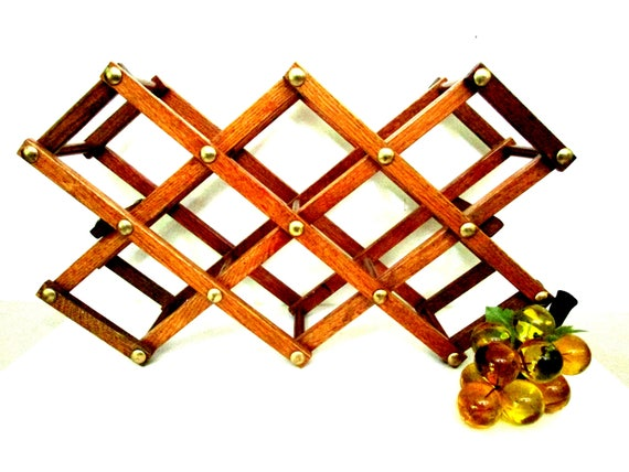 Vintage Folding Wine Rack, Accordian Wine Rack, Mid Century Wooden Wine Rack