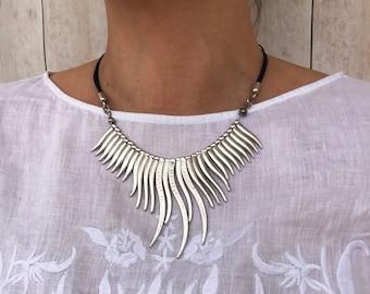 Boho Jewelry Women Leather Necklace Boho Necklace Bohemian Jewelry Statement Necklace Boho Bib Necklace Hippy jewelry Silver Boho Necklaces