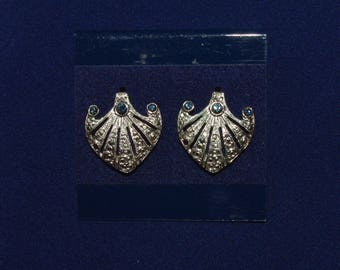 Jackie Kennedy Platinum Plated Earrings with Faux Sapphires, Box and Certificate