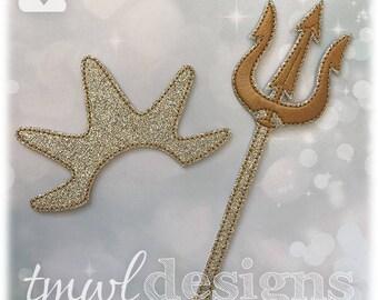 Crown & Trident Husky Felt Paper Doll Accessories Digital Design File - Husky