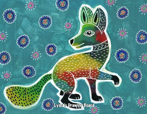 Fox, Fox Art, Fox Art Print, Fox Artwork, Fox Print, Mexican Art, Mexican Folk Art, Animal Art, Animal Artwork, Animal Art Print, Zorro