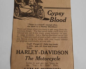 Vintage Harley Davidson Ad, Gypsy Blood
