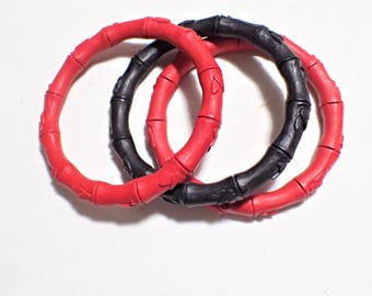 Set of Three Red And Black Cinnabar Resin Bamboo Bangle Bracelets