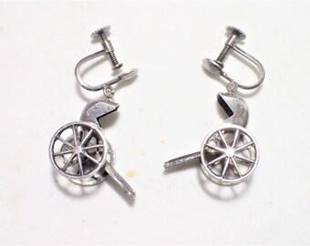 950 Sterling Silver Articulating Rickshaw Screw Back Earrings