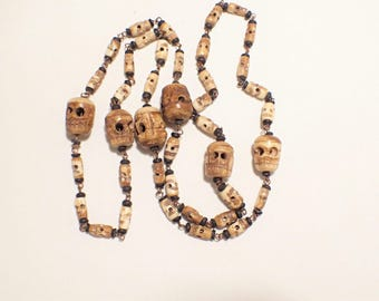Carved Bone Skull Bead Necklace Steampunk Goth Tribal Boho Halloween