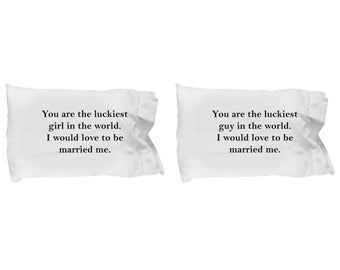 Luckiest Guy and Girl in the World Married to Me Gift Pillowcase SET OF TWO Anniversary Love Couple Pillow Case
