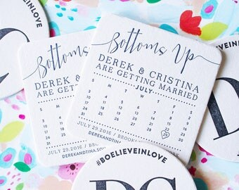 Bottoms Up / Calligraphy Letterpress Save the Date Coaster