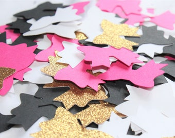 Glitter Bow Theme Confetti - Black White Pink Gold Confetti - Birthday - Baby Shower Party Decor - 100 Pieces MADE TO ORDER