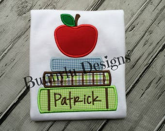 Back To School Shirt, Personalized, Long Sleeve, Short Sleeve Boys Shirt, Apple With Stack Of Books