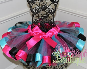 Ribbon Tutu - Hot Pink, Black, Turquoise Tutu