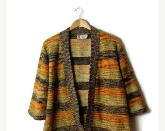 ON SALE Vintage Yellow/Brown Marled Stripe Lebowski Acrylic Sweater Cardigan from 1970's*