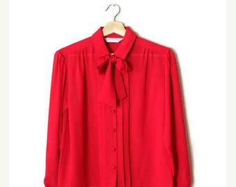 ON SALE Vintage Vivid Red Long sleeve blouse from 1980's/tie*