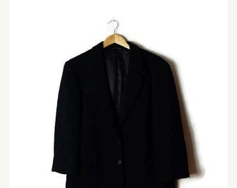 ON SALE Vintage Oversized Plain Black  Blazer from 1980's/Minimal Jacket/Minimalist*