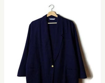 ON SALE Vintage Oversized Navy Slouchy Blazer /Light Jacket  from 90's/Minimalist*