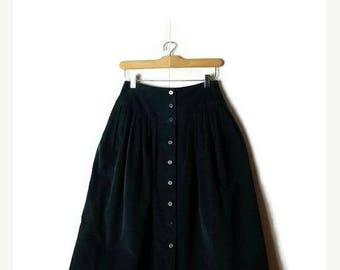 ON SALE Vintage Dark Green Corduroy Button down Flare Skirt / W23*