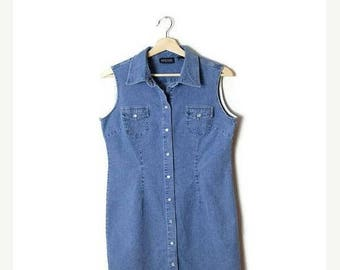ON SALE Vintage Denim  Sleeveless Button down Mini Dress from 90's*