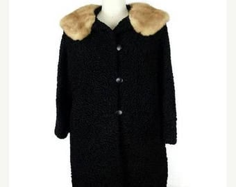 WINTER SALE 20% OFF Vintage Black Persian Lamb x Mink fur Collared Swing Coat from 1960's*