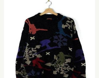 WINTER SALE 20% OFF Vintage Black x Skiers patterned Wool Sweater from 90's
