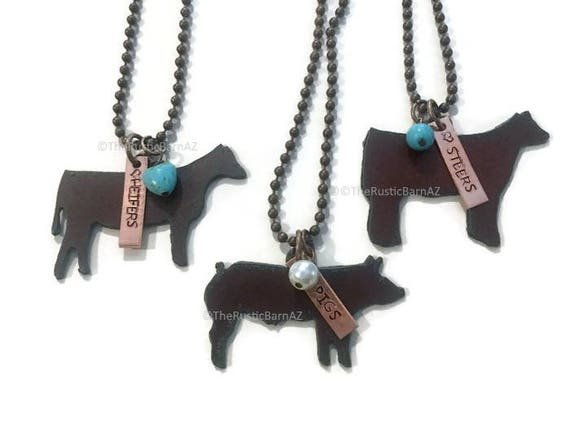 SHOW Farm Animals PIG HEIFER or Steer Livestock Necklace made of Rustic Rusty Rusted Recycled Metal