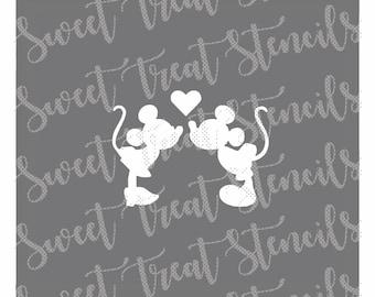 Mickey and Minnie Heart Cookie Stencil