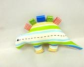 Baby travel and teething toy, soft toy cotton dinosaur plush. dinosaur sensory toy, made in the UK, baby christening gift, babyshower gift
