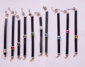 Black leather bracelet with faceted crystal Rivoli, 10 colors to choose from